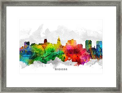 Madison Wisconsin Cityscape 12 Framed Print by Aged Pixel