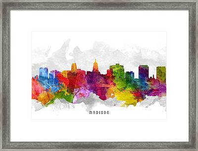 Madison Wisconsin Cityscape 13 Framed Print by Aged Pixel