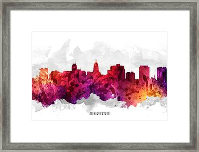 Madison Wisconsin Cityscape 14 Framed Print by Aged Pixel
