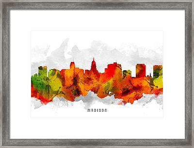 Madison Wisconsin Cityscape 15 Framed Print by Aged Pixel