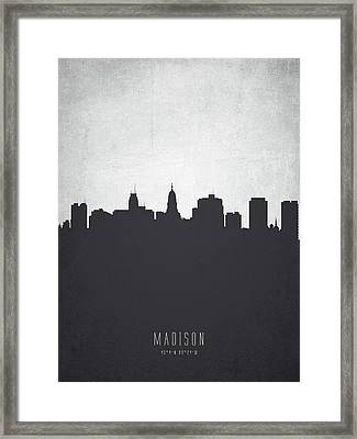 Madison Wisconsin Cityscape 19 Framed Print by Aged Pixel