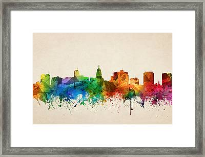Madison Wisconsin Skyline 05 Framed Print by Aged Pixel