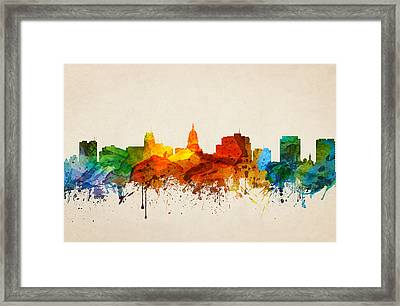 Madison Wisconsin Skyline 16 Framed Print by Aged Pixel