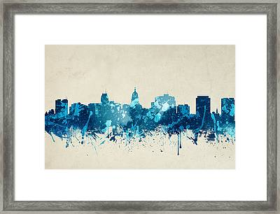 Madison Wisconsin Skyline 19 Framed Print by Aged Pixel