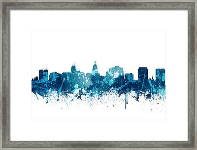 Madison Wisconsin Skyline 20 Framed Print by Aged Pixel