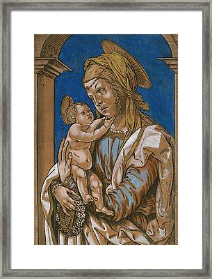 Madonna And Child Under An Arch Framed Print by Hans Burgkmair