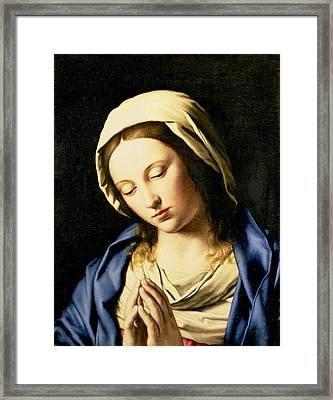 Madonna At Prayer Framed Print by Il Sassoferrato