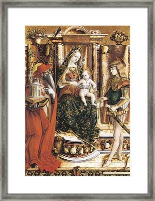 Madonna Of The Swallow Framed Print by Carlo Crivelli