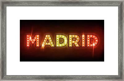 Madrid In Lights Framed Print by Michael Tompsett