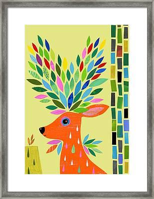 Magic Deer Framed Print by Anne Vasko