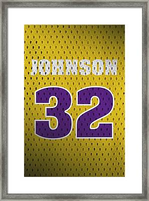 Magic Johnson Los Angeles Lakers Number 32 Retro Vintage Jersey Closeup Graphic Design Framed Print by Design Turnpike