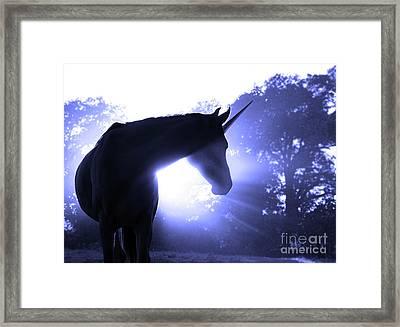 Magic Unicorn In Blue Framed Print by Sari ONeal