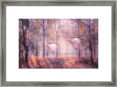 Magical Forests Impressionism Rose Quartz Tone Framed Print by Georgiana Romanovna
