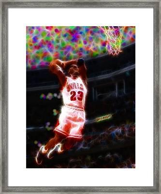 Magical Michael Jordan White Jersey Framed Print by Paul Van Scott