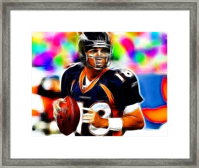 Magical Peyton Manning Borncos Framed Print by Paul Van Scott