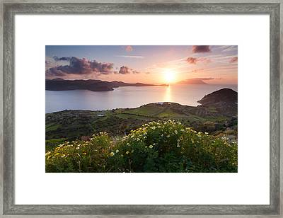 Magnificent Greek Sunset Framed Print by Evgeni Dinev