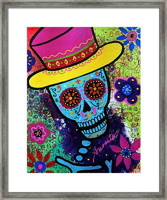 Mago Day Of The Dead Framed Print by Pristine Cartera Turkus