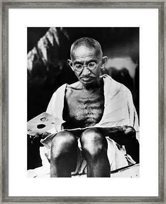Mahatma Gandhi Prepares For A Hunger Framed Print by Everett