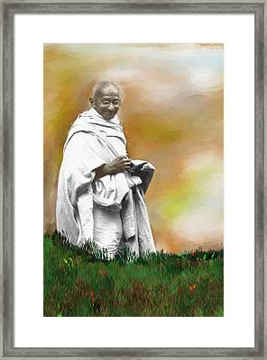 Mahatma Ghandi Framed Print by C A Soto Aguirre