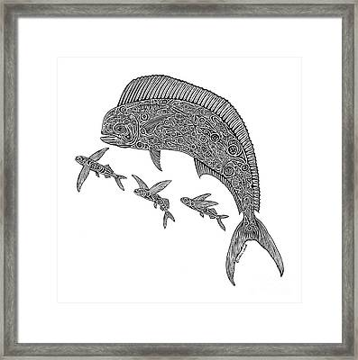 Mahi With Flying Fish Framed Print by Carol Lynne