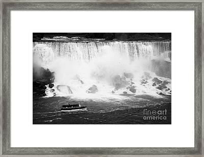 Maid Of The Mist Boat Below The American And Bridal Veil Falls Niagara Falls Ontario Canada Framed Print by Joe Fox