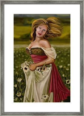 Maiden Amongst The Poppies Framed Print by Maggie Terlecki