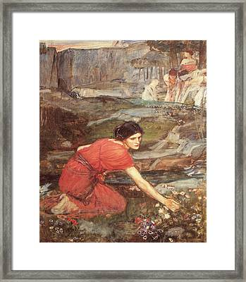 Maidens Picking Flowers By The Stream Framed Print by John William Waterhouse