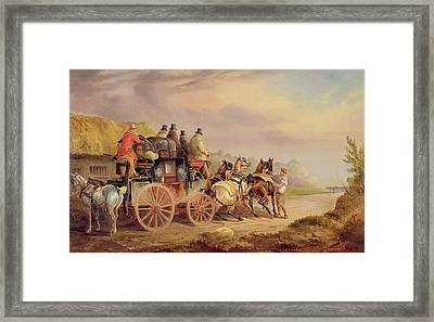 Mail Coaches On The Road - The 'quicksilver'  Framed Print by Charles Cooper Henderson