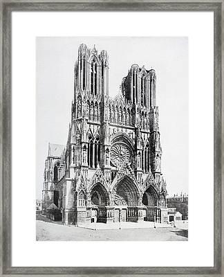 Main Facade Of Notre-dame De Reims  Our Framed Print by Vintage Design Pics