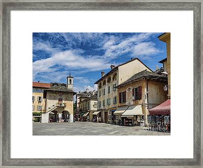 Main Square In Orta San Giulio At Lake Orta Italy Framed Print by Frank Bach