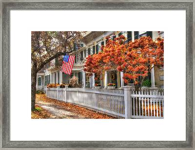 Main St. Usa - Woodstock, Vermont Framed Print by Joann Vitali