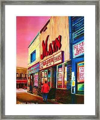 Main Steakhouse Blvd.st.laurent Framed Print by Carole Spandau