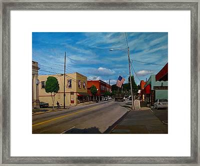 Main Street Clayton Nc Framed Print by Doug Strickland