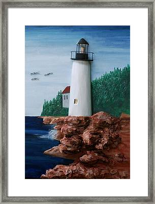 Maine Lighthouse Framed Print by Ted Hess