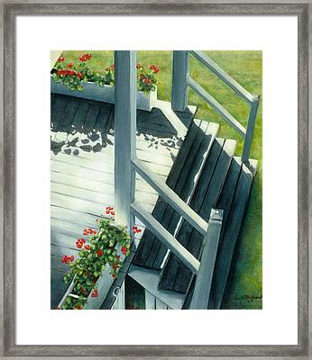 Maine Porches Number Three Framed Print by Leo Malboeuf