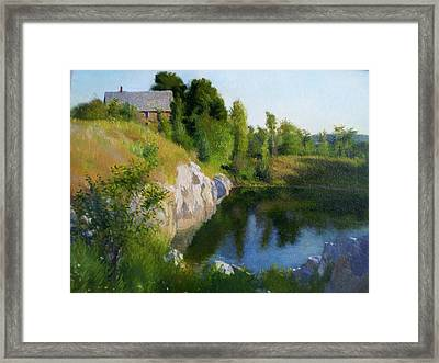 Maine Quarry Framed Print by Ron Johnston