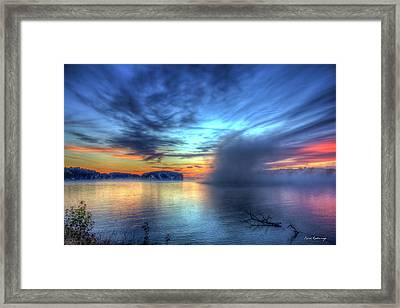 Majestic Sunrise Fog Sugar Creek Lake Oconee Framed Print by Reid Callaway