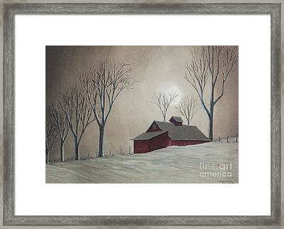 Majestic Winter Night Framed Print by Charlotte Blanchard