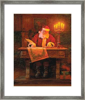 Making A List Framed Print by Greg Olsen