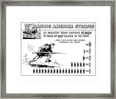 Making America Strong Cartoon Framed Print by War Is Hell Store