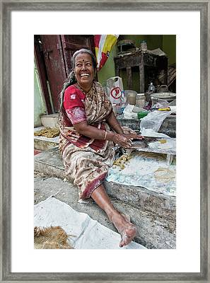 Making Chapatti Framed Print by Marion Galt