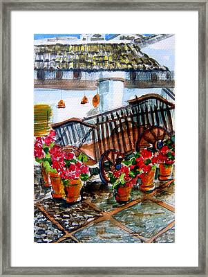 Malaga Spain Flower Cart Framed Print by Mindy Newman