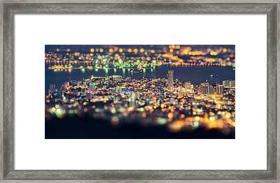 Malaysia Penang Hill At Night Framed Print by Jordan Lye