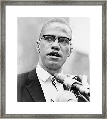 Malcolm X 1925-1965, Forceful African Framed Print by Everett