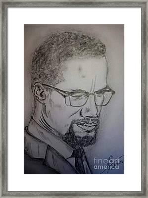 Malcolm X Framed Print by Collin A Clarke