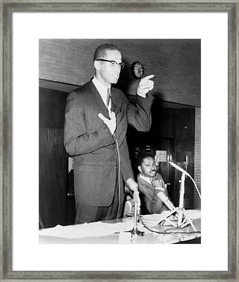 Malcolm X Speaks In Support Framed Print by Everett