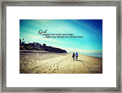 Male And Female He Created Them Framed Print by Sharon Soberon