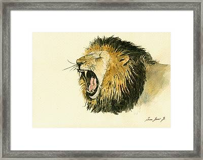Male Lion Head Painting Framed Print by Juan  Bosco