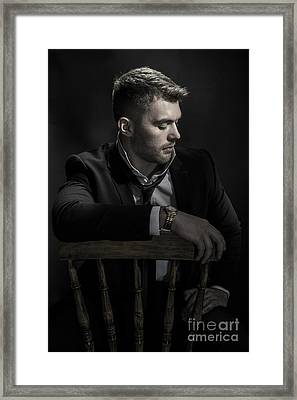 Male Model Sitting Framed Print by Amanda And Christopher Elwell