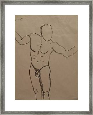 Male Nude Drawing 2 Framed Print by Teri Schuster